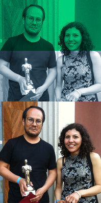 Diego Arandia – winner audio award – und Safaa Mahmoud – finalist student award